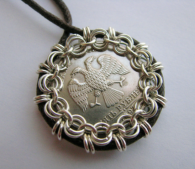 Artistic life chain mail bezel for coins and more you will not believe just after making this russian pendant mozeypictures Image collections