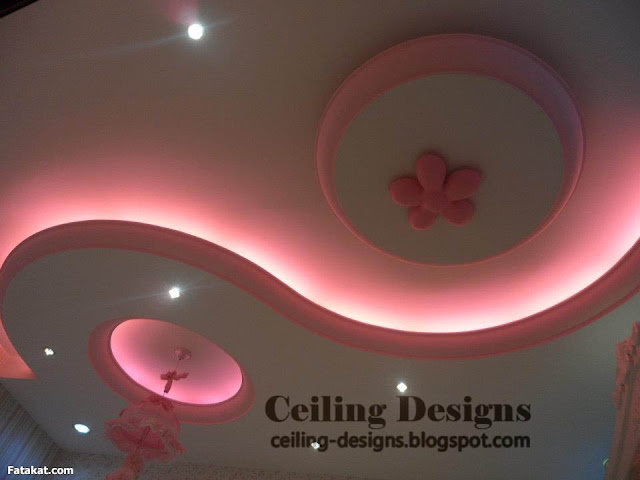 romance false ceiling designs for bedrooms from gypsum with pink light