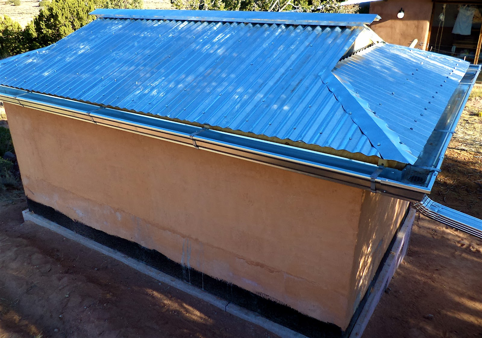 Alt build blog building a well house 5 corrugated for Metal hip roof