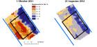 Afb. 1 Ruimtelijk bodemvocht van de Kadedijk op twee verschillende tijdstippen. Bron: Bodemvocht kartering met microgolven radiometers