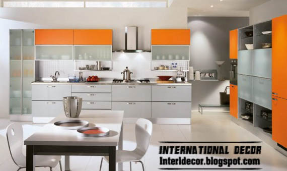 Modern Orange Kitchen Metal Cabinets Design 2013