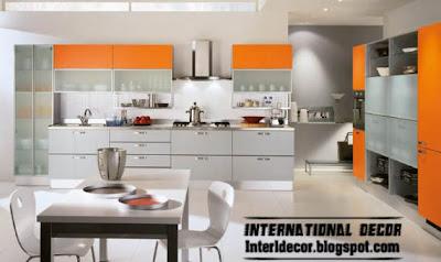 Contemporary orange kitchen cabinets designs 2015, grey and orange kitchens