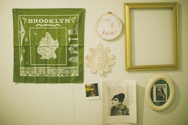 lark and lace, brooklyn, scarf, polaroid, decor, gallery, embroidery