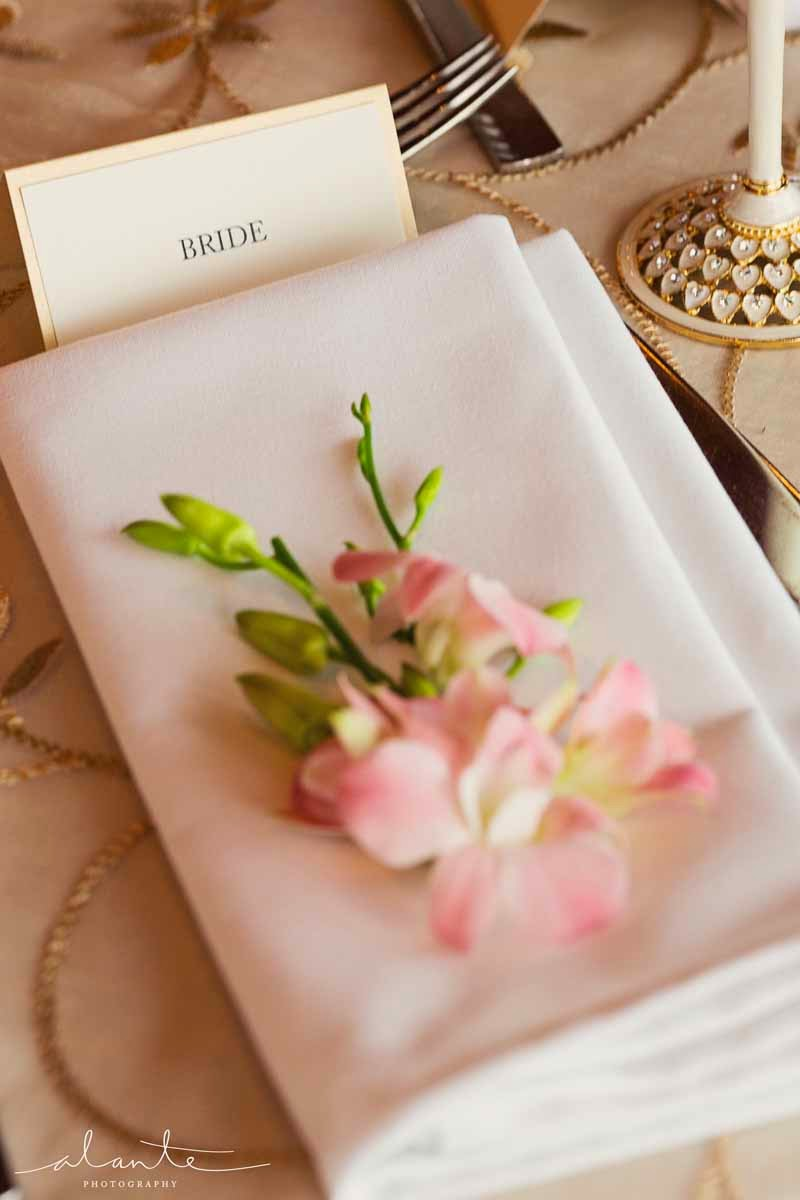 pink orchids as napkin flowers