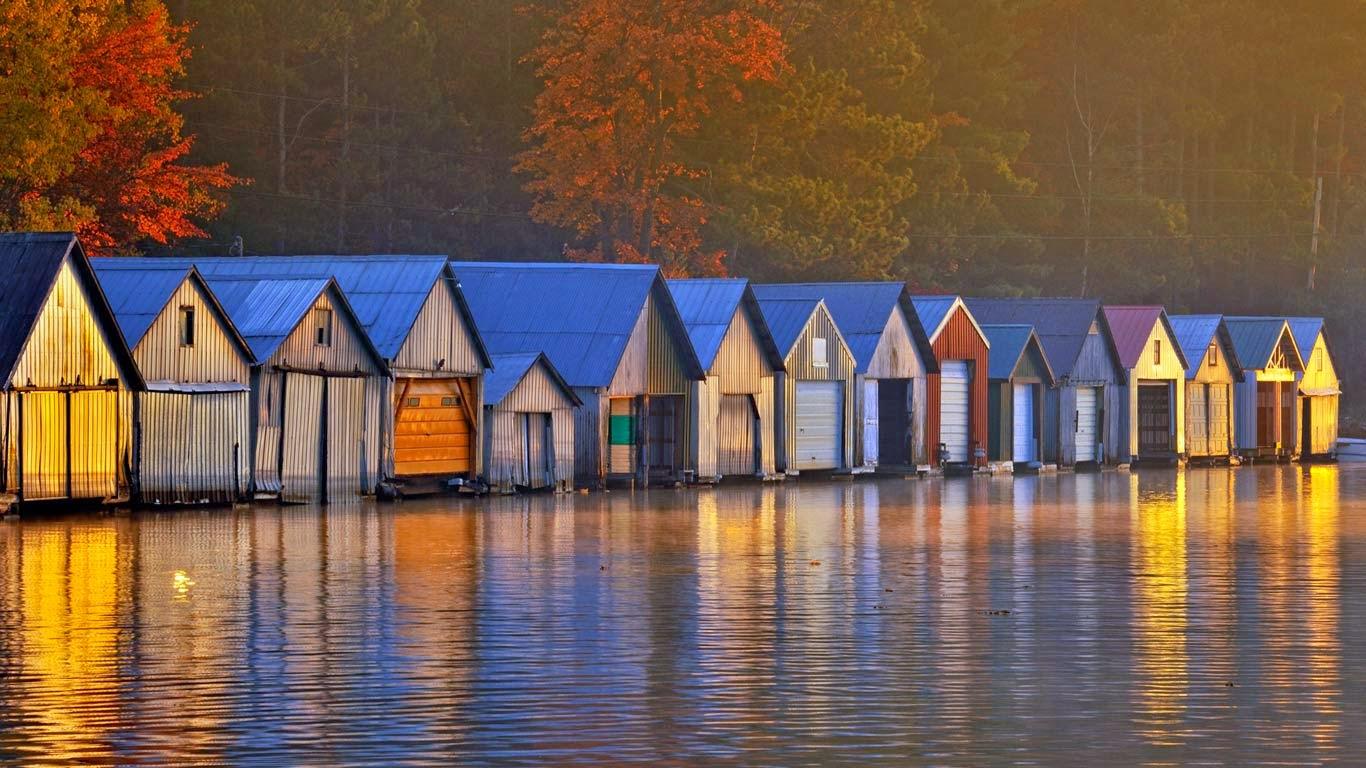 Boathouses on Lake Panache, Greater Sudbury, Ontario, Canada (© Don Johnston/Corbis) 51