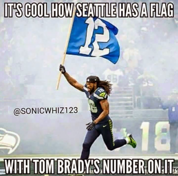It's cool how seattle has a flag with tom brady's number on it. #patriots #tombrady #seahawkshaters