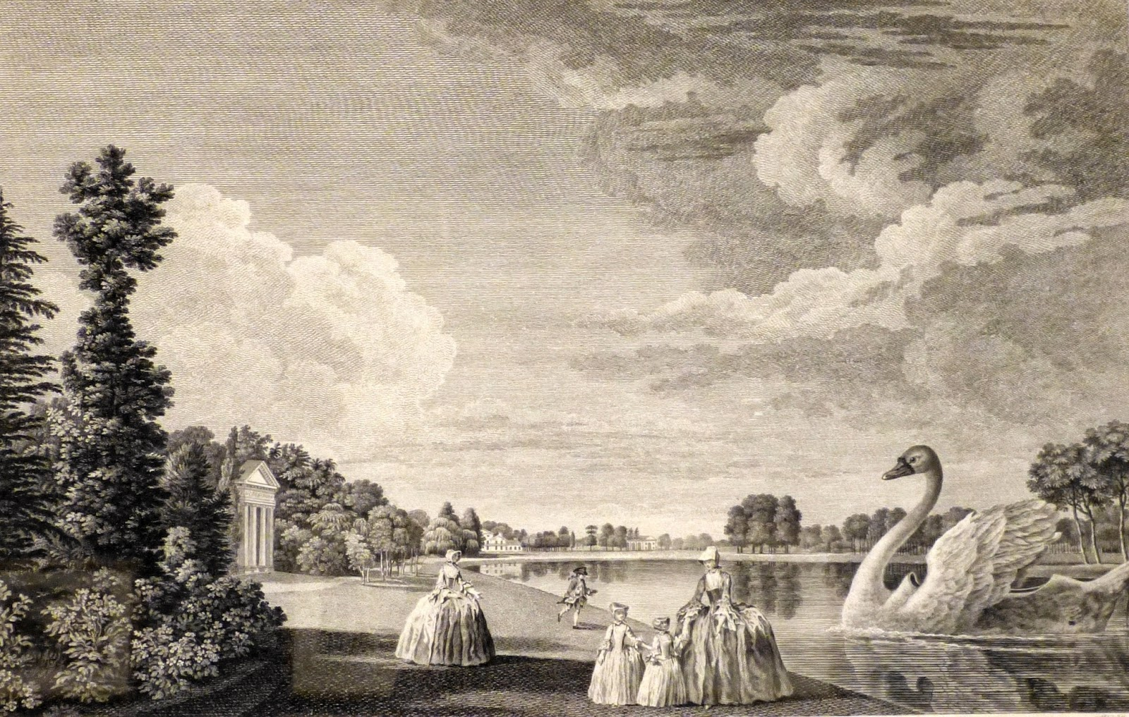 view of the palace form the north side of the Lake at Kew  by William Elliott after William Woollett (c1766)