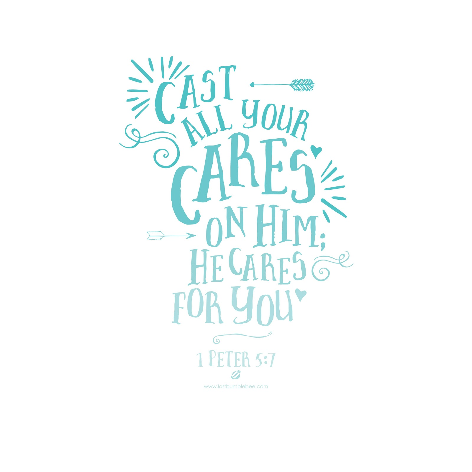 LostBumblebee ©2014 Cast Your Cares 1 Peter 5:7 iOs 7 iPad wallpaper- personal use only