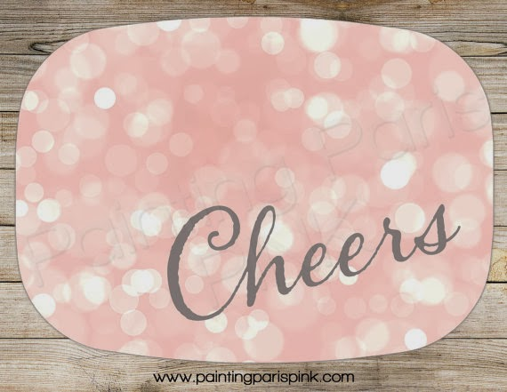 Cheers Bokeh Melamine Platter - Perfect for the Christmas Holiday, New Year, Wedding Pink Blurred lights cheers new years birthday party