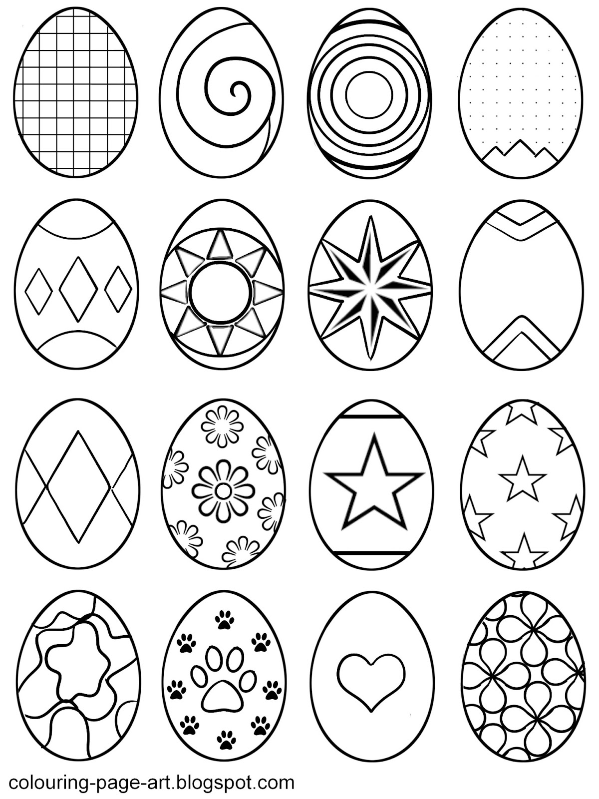 Abstract Easter Coloring Pages : Symbol abstract easter eggs multiple designs per sheet