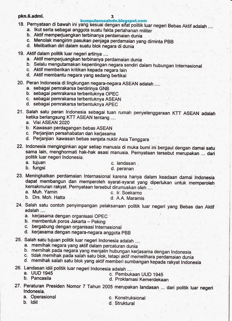 Soal Pkn Kelas 6 Sd Ukk Semester 2 Ta 2013 2014 Kumpulan Soal Sd