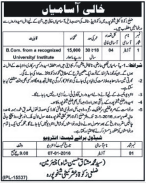 Auditors Jobs in Zakat & Ushar Sheikhu Pura