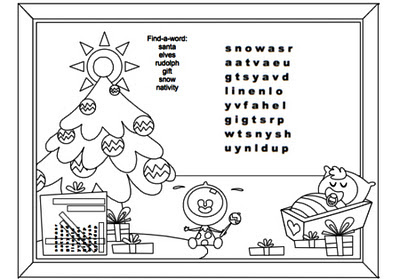 Page 6 - Find a word coloring page - for Christmas Activity Coloring Book by Robert Aaron Wiley for Microsoft