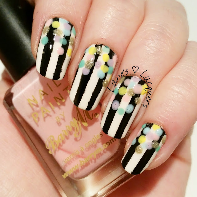 lanes-loves-monochrome-striped-pastel-confetti-nail-art (2)