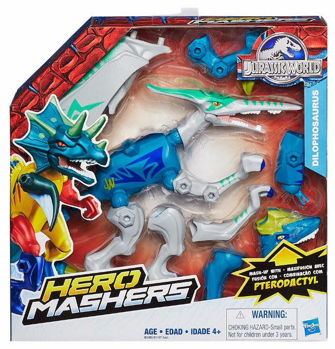 JUGUETES - Jurassic World : Hero Mashers   Dilophosaurus | Pack Combinación | Dinosaurio  Hasbro B3265 | Toys | Película 2015 | A partir de 4 años