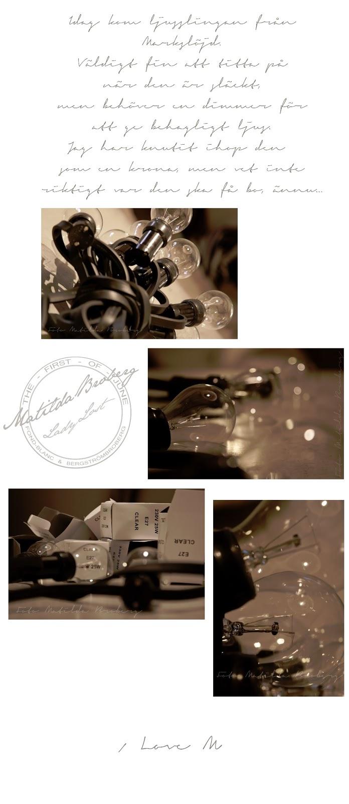ljusslinga glödlampor svartvit inredning matilda broberg foto fotograf ladylost