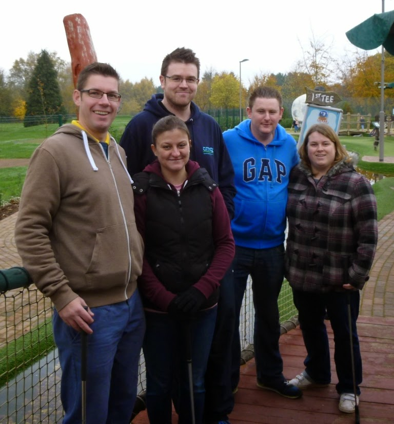 The Surrey Invitational Tournament competitors at the Pirate Island Adventure Golf course in Woking, from l-r Richard Gottfried, Emily Gottfried, Oliver Florence, Matt Dodd, Helen Dodd