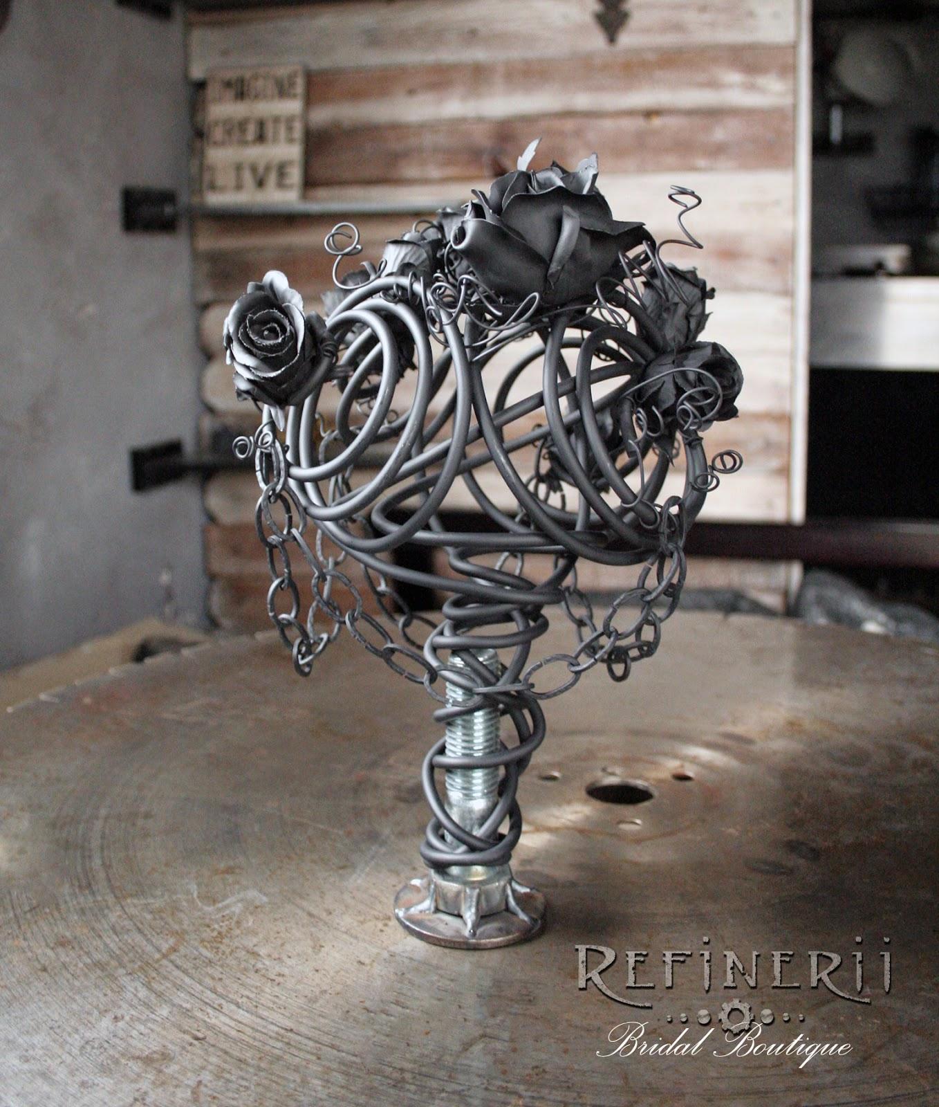 refinerii alternative metal bouquet goth black wedding roses perpetual