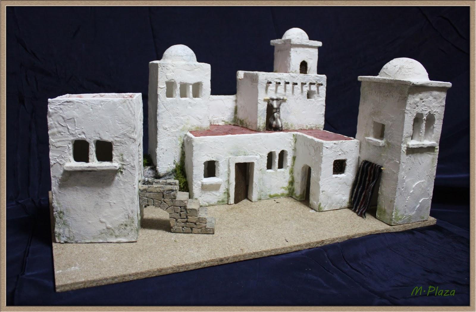 El taller de miguel artesan a para el bel n - Casitas para pesebre de carton ...