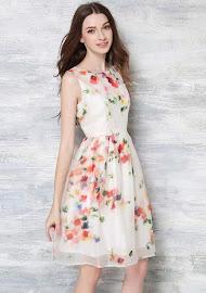 Sleeveless Sweet Floral Chiffon Flare Light Cream Dress