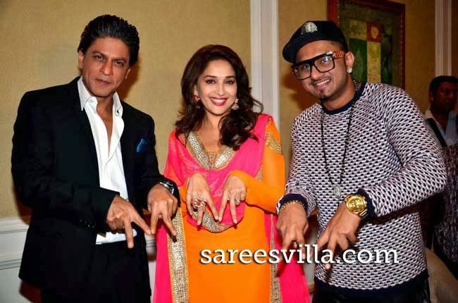 Shah Rukh Khan, Madhuri Dixit and singer Honey Singh
