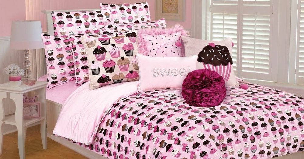 pink and brown cupcakes comforter set bedroom decorating