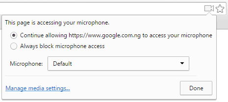 Allowing Google Now access to Microphone on Chrome