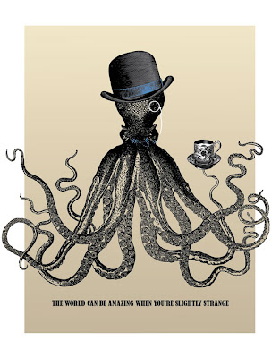 octopus in a top hat drinking tea poster with text