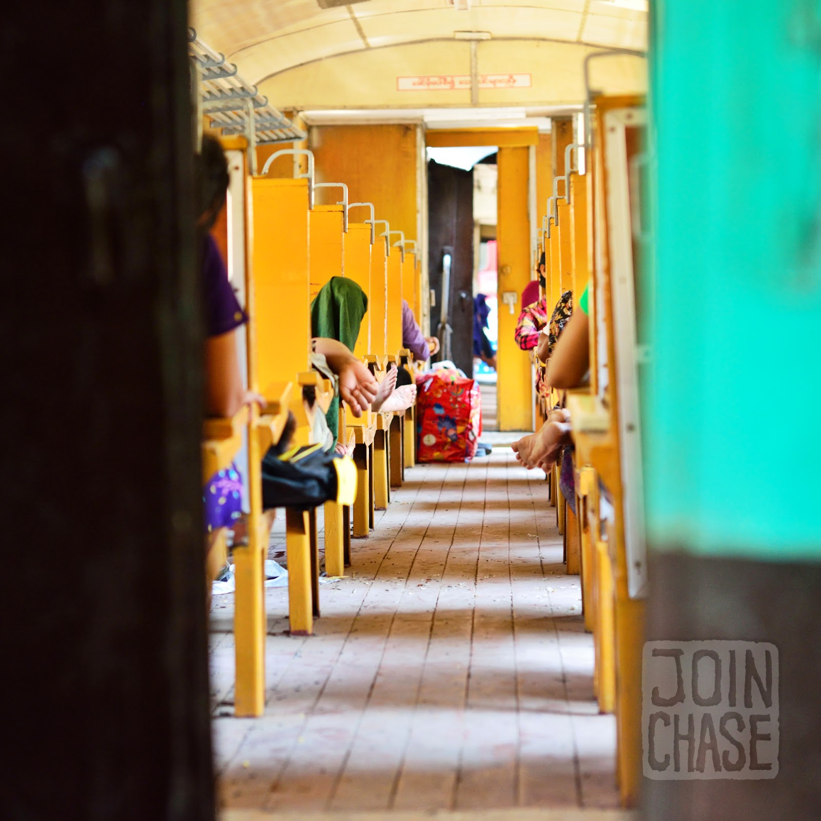 Inside ordinary class on the train from Yangon to Bagan, Myanmar.