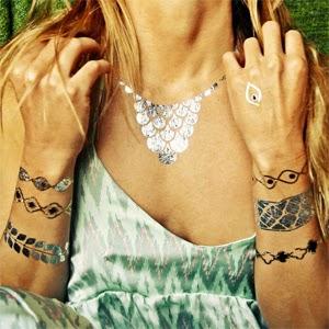 tatuagem temporária metalizada pulseiras e corrente