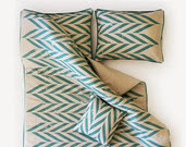 Linen duvet Queen Aqua Chevron printed linen with corduroy piping