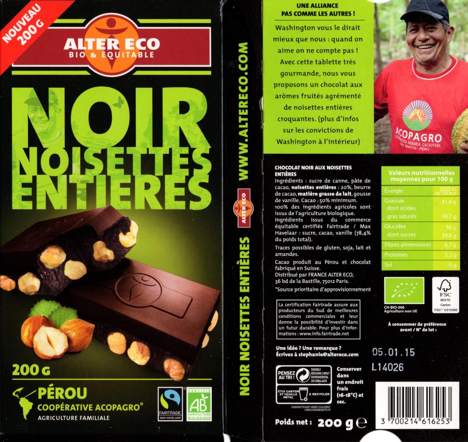 tablette de chocolat noir gourmand alter eco pérou noir noisettes entières