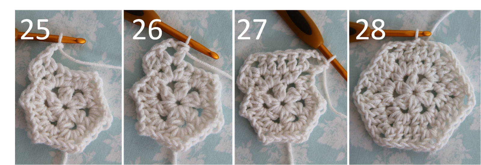 Crochet Tutorial : 25. corners: double crochet, chain 2, double crochet in same corner