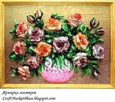 солёное тесто,  картины из теста, продам, продаю, цветы из солёного теста