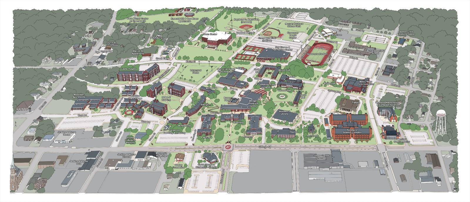 2012] APSU Campus Map | Holly Carden | Illustrator
