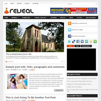 Reveal blog template. template image slider blog. magazine blogger template style. wordpress theme to blogger