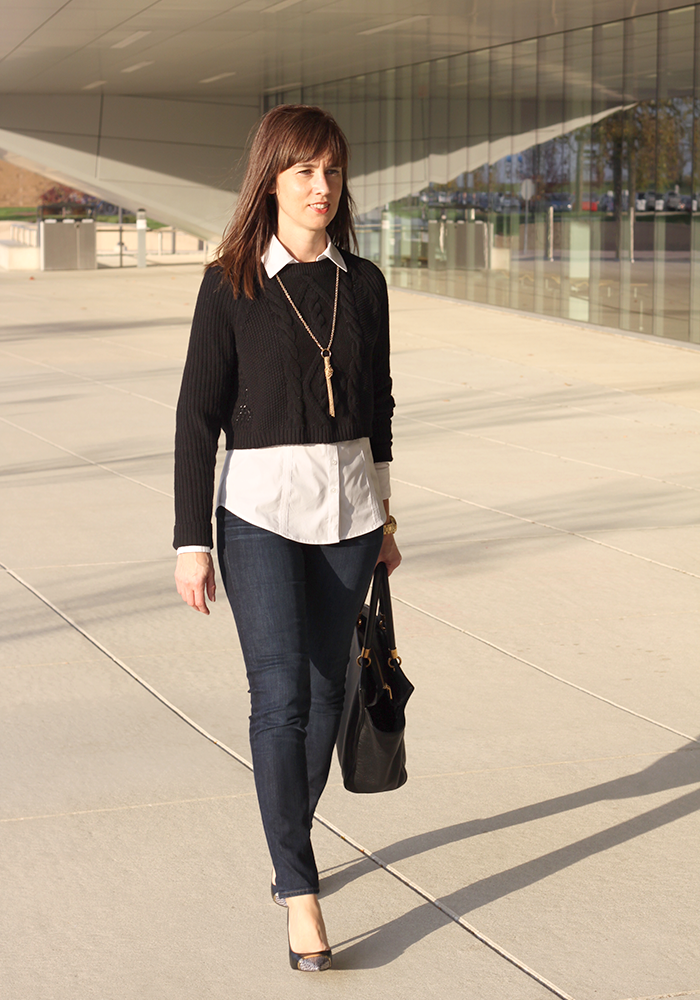 two-in-one sweater/shirt combo, snake pumps, fall look, skinny jeans