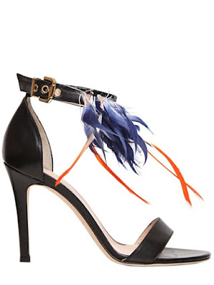 MSGM high heeled sandals with feathers