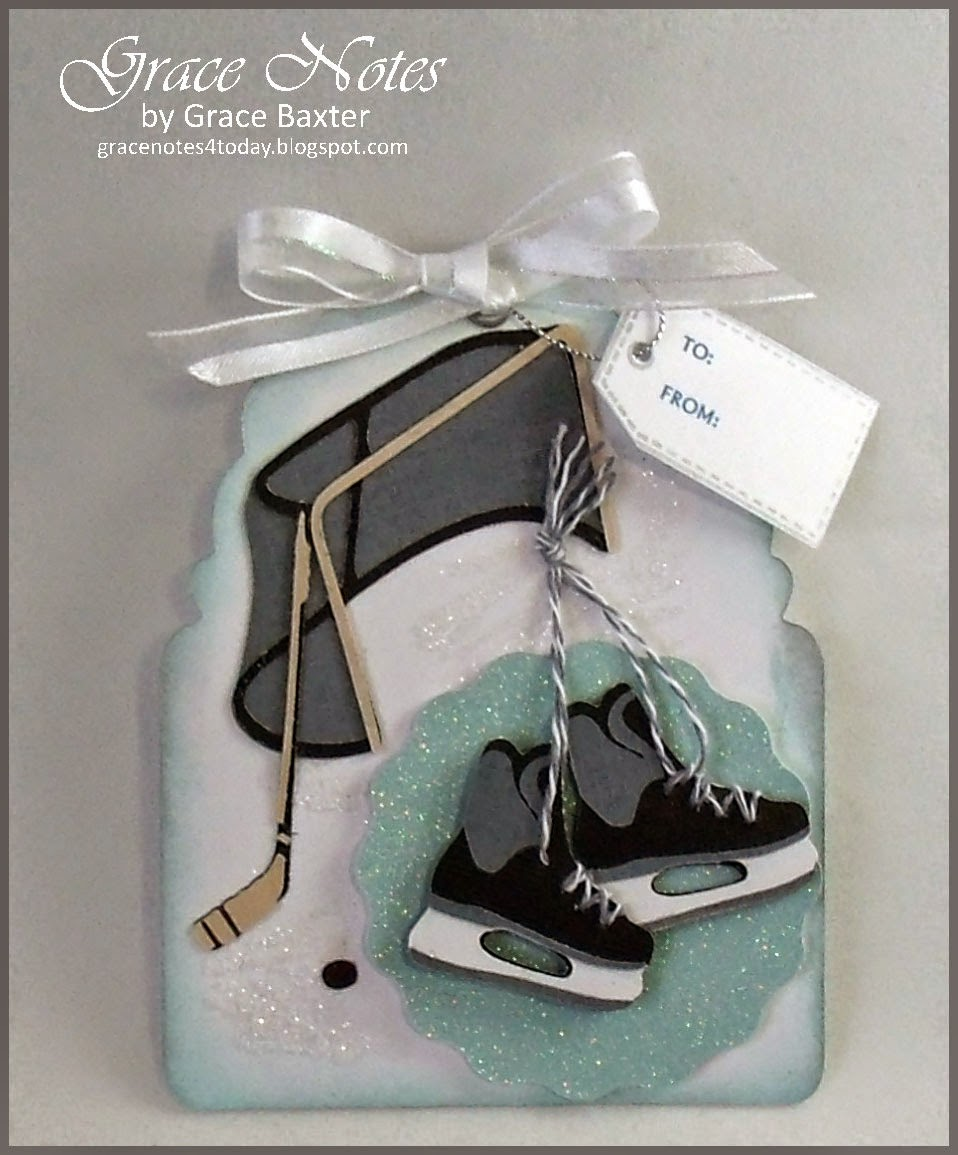 Hockey themed gift tag ~ skates, stick, puck, net and ice