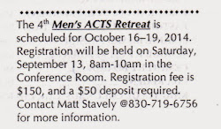October 16 - 19, 2014: Men's ACTS Retreat Sacred Heart Church
