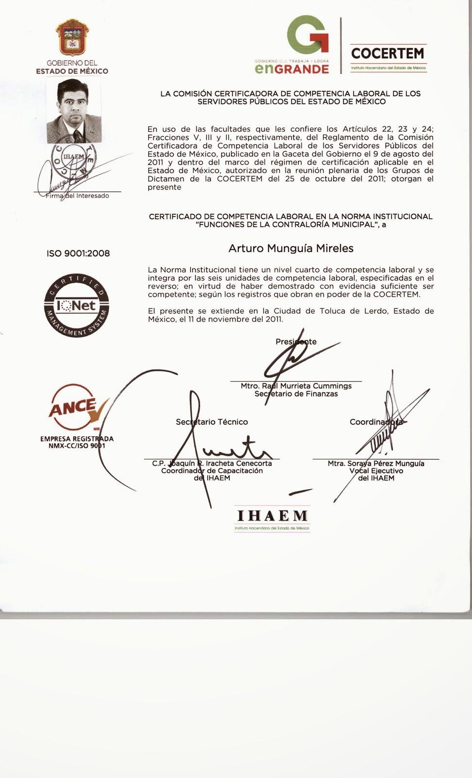 Certificado de Competencia Laboral en Funciones de Contraloria Municipal