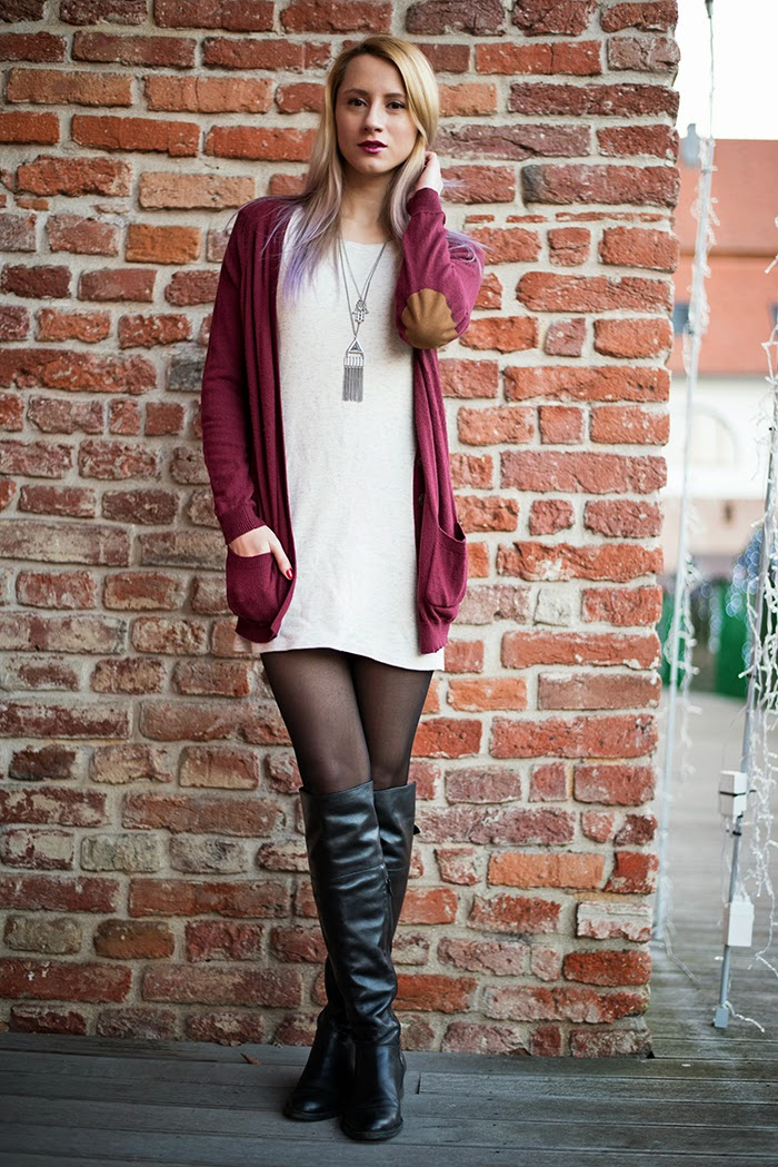Skinny Buddha Zara burgundy cardigan H&M long chains over the knee boots