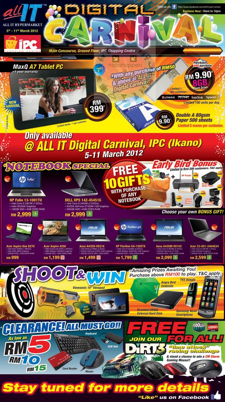 all it digital carnival sale 5 11 mar 2012 trailsshoppers. Black Bedroom Furniture Sets. Home Design Ideas