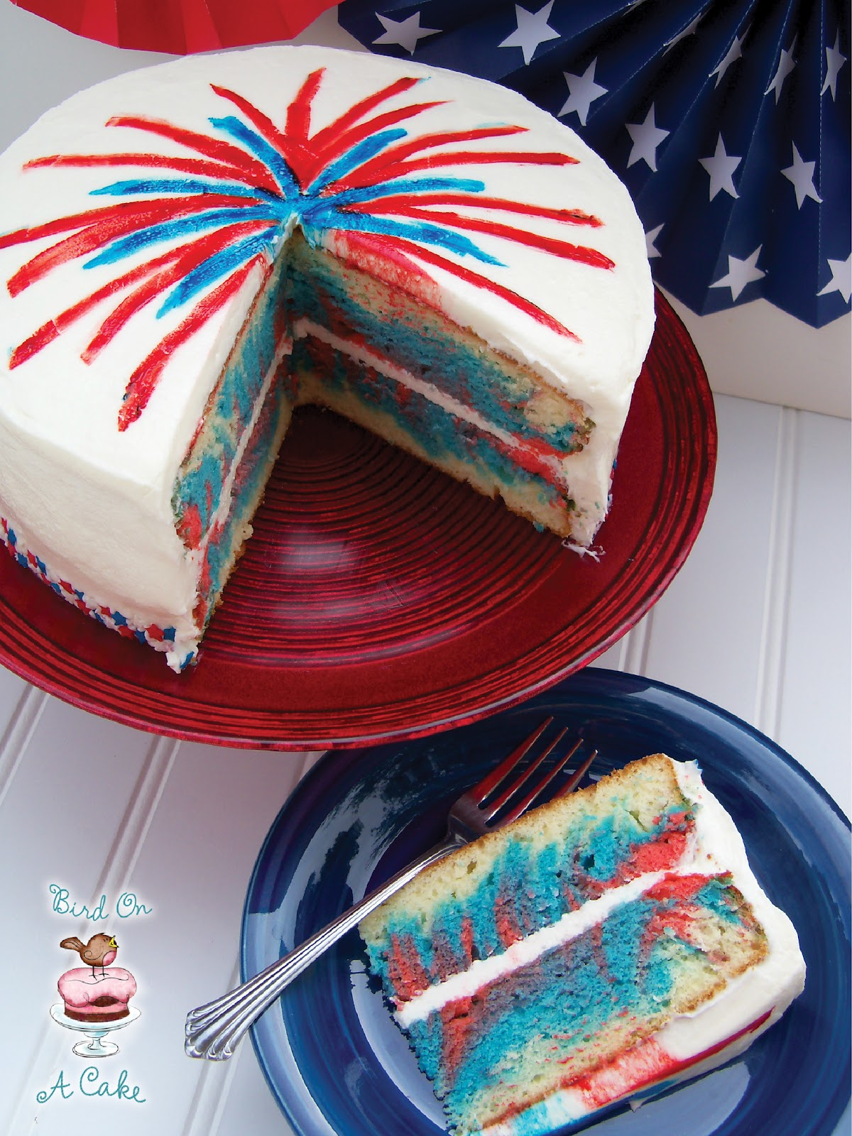 bird on a cake 4th of july fireworks cake