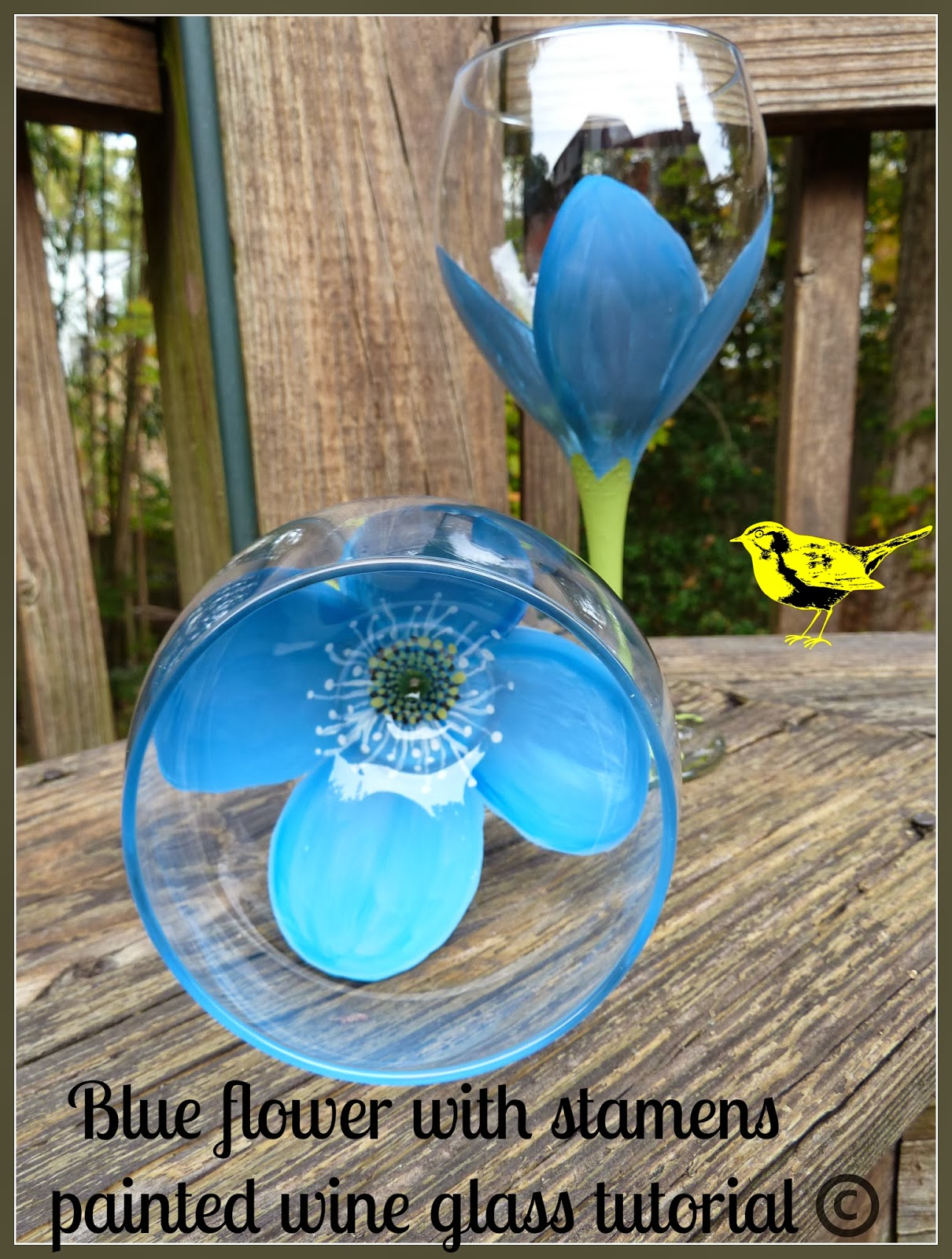 Make it easy crafts blue flower with stamens painted wine for Diy paint