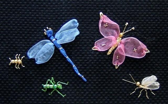 Вышивка лентами для начинающих пошагово бабочка 48