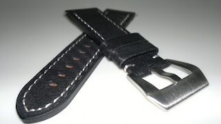 24/22 Black Carbon Fiber Design Leather Strap