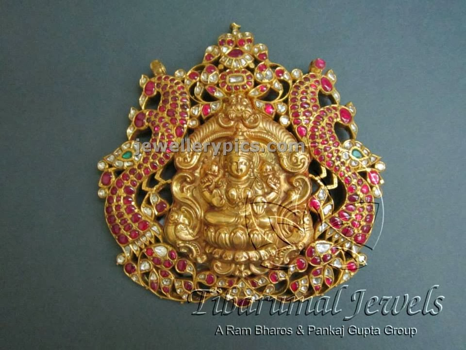 huge temple pendent studded in pink kundans at tibarumal jewels