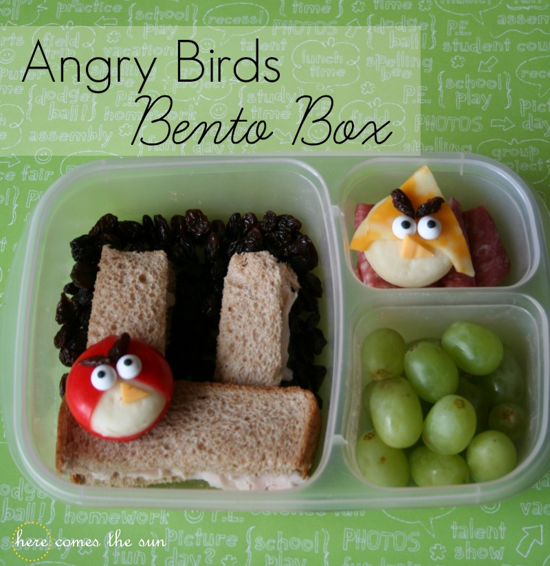angry birds bento box lunch here comes the sun. Black Bedroom Furniture Sets. Home Design Ideas