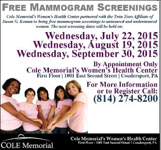 7-22-8-19-9-30 Free Mammogram Screenings